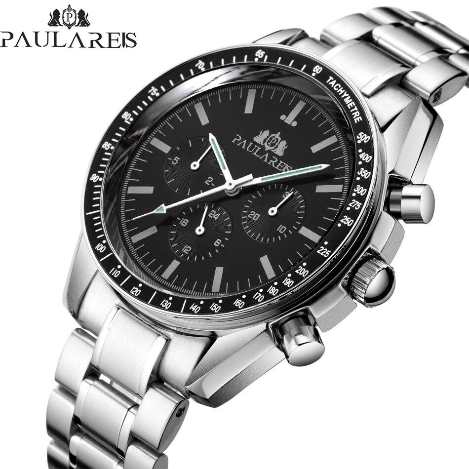 自動自己風メカニカル発光ステンレス鋼本物のブルーコーヒーブラウンレザーストラップスピードレーシングクラシック腕時計 -