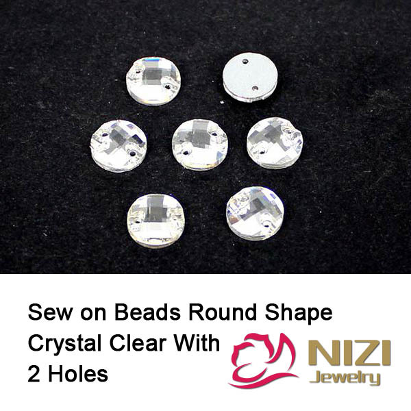 Sewing Beads 8mm 10mm 12mm 14mm 16mm 18mm Round Flatback Crystal Clear Glass Beads Sew On Buttons For Garment High Shine Beads crystal beads 12mm 16mm 22mm sew on triangle glass beads flatback sewing diy beads with 3 holes for garment