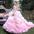 Vestidos Quinceanera Custom Made Rosa Ruffles Vestido para 15 Anos de Idade Menina Vestidos Pageant Formais Vestidos de Baile Vestidos de Festa