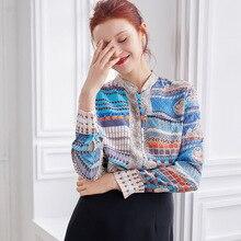 Новое поступление, Летняя шелковая рубашка с вертикальным воротником в стиле ретро, свободная шелкопрядная шелковая рубашка с длинными рукавами, офисные женские топы