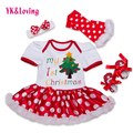 2016 New Christmas Dresses Newborn 1 Birthday Short Sleeve Red Snowflake Ruffles Dress Baby 4pcs Sets Girls Xmas Party Clothes