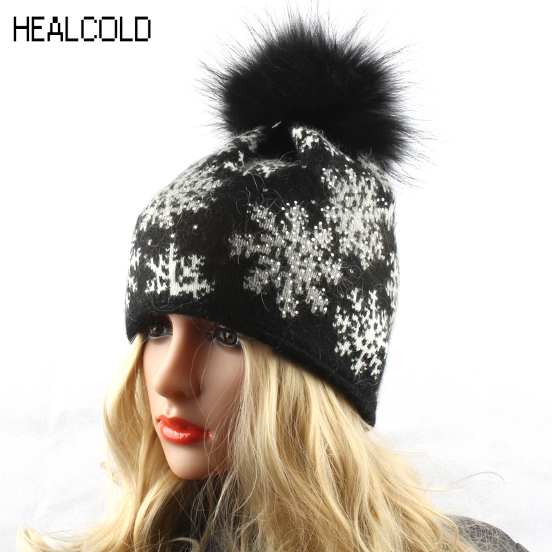 Snowflake Knitted Skullies Beanies 2018 Winter Rabbit Fur Beanie Hat For Women Real Raccoon Fur Pompom Hat
