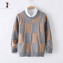 Kung Fu Ant Plaid Knitted Sweaters for Boy Casual Student Autumn O-neck Warm Thick Tops Handsome Kids Clothing  M1623