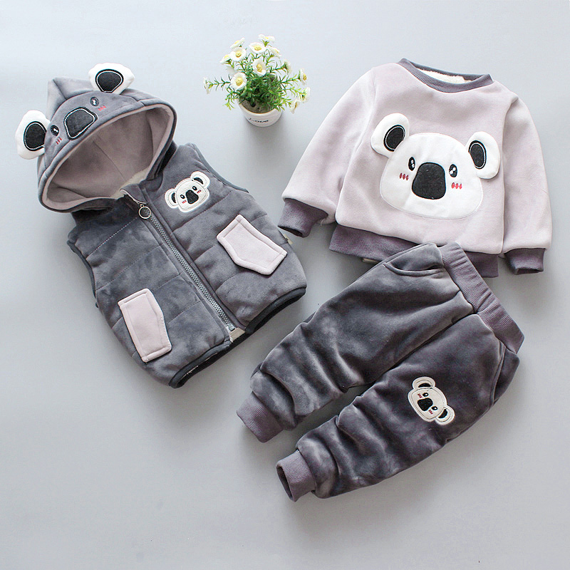 baby clothing sets fashion cute cartoon bear winter cotton fleece wool suit warm thicken 3 pcs plus velvet baby boys girls set paul frank baby boys supper julius fleece hoodie