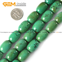 Gem inside Natural Tube Cylinder Columnar Column Old Turquois Beads For Jewelry Making Strand 15inches
