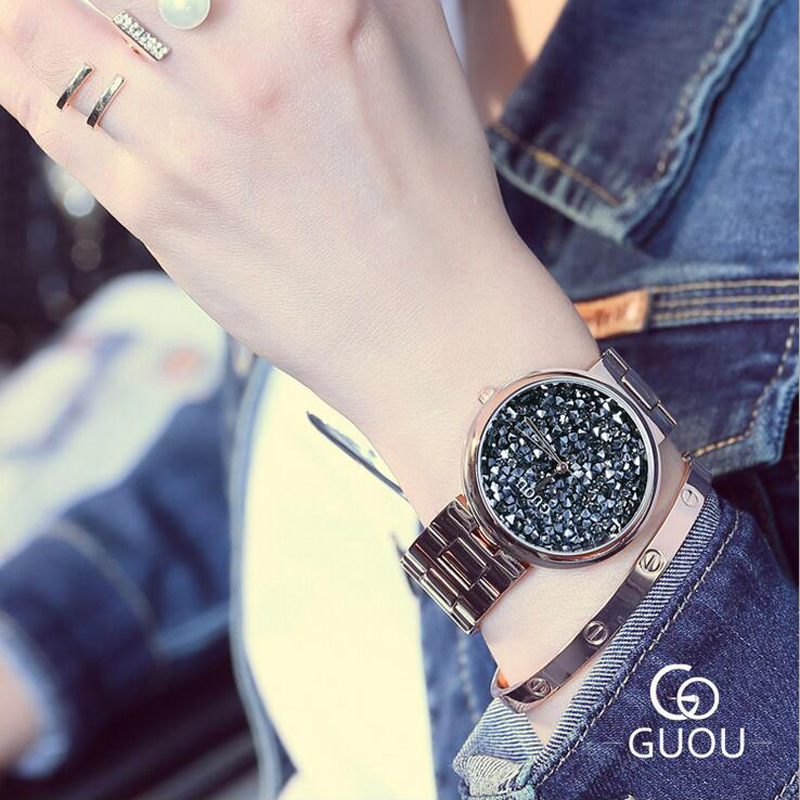GUOU Watches Women Exquisite Diamond Ladies Wrist Watch Luxury Shiny Rhinestone Women Watch saat relogio feminino relojes mujer