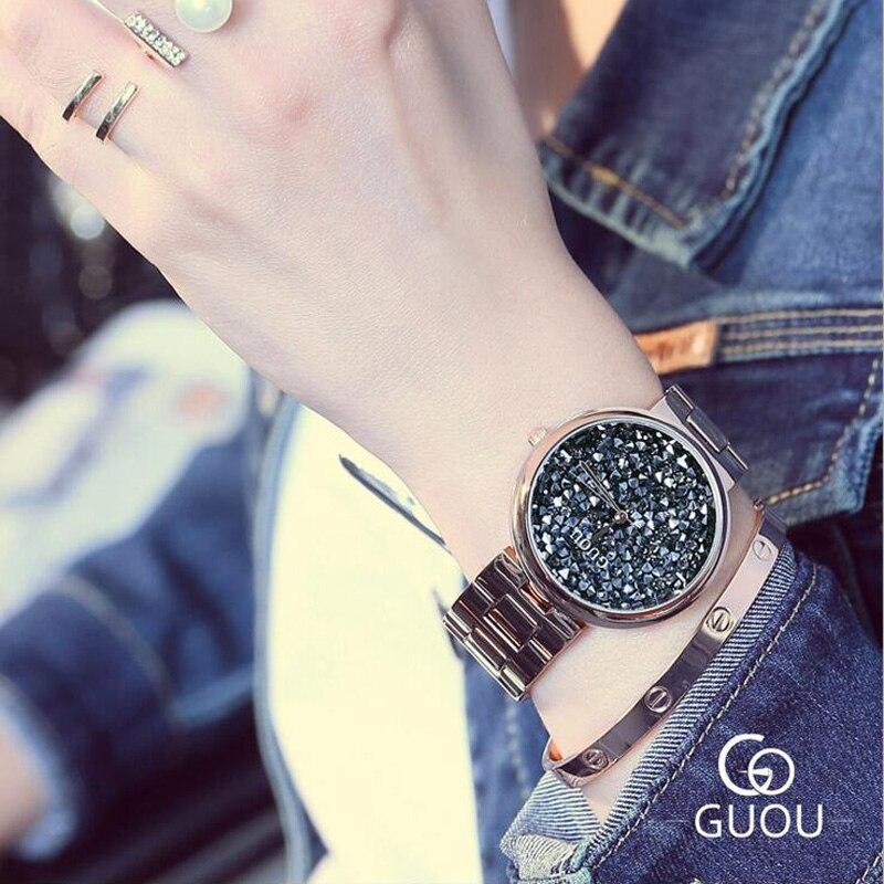 GUOU relojes mujeres exquisito reloj de señoras del diamante de lujo brillante Rhinestone mujeres reloj relogio feminino relojes mujer