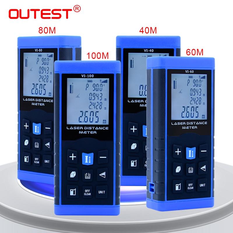 OUTEST fita trena medidor de distância a laser telêmetro laser medidor de distância digital a laser nível eletrônico regras 40 m 60 m 80 m 100 m