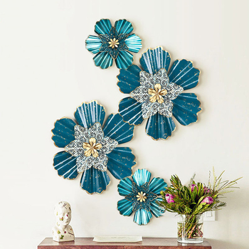 European Wrought Iron 3D Flower Wall Hanging Crafts Decoration Home Livingroom Restaurant Wall Sticker Metal Mural Ornaments Art