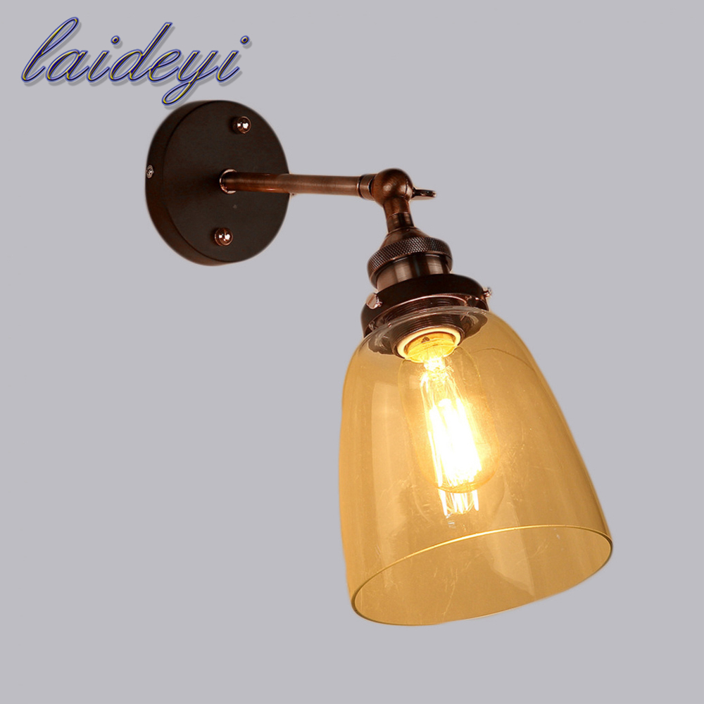 Amber Loft Vintage Industrial Edison Wall Lamps Clear Glass Lampshade Antique Copper Wall Lights 110V 220V For Bedroom wholesale price loft vintage industrial edison wall lamps clear glass lampshade antique copper wall lights 110v 220v for bedroom page 4 page 4