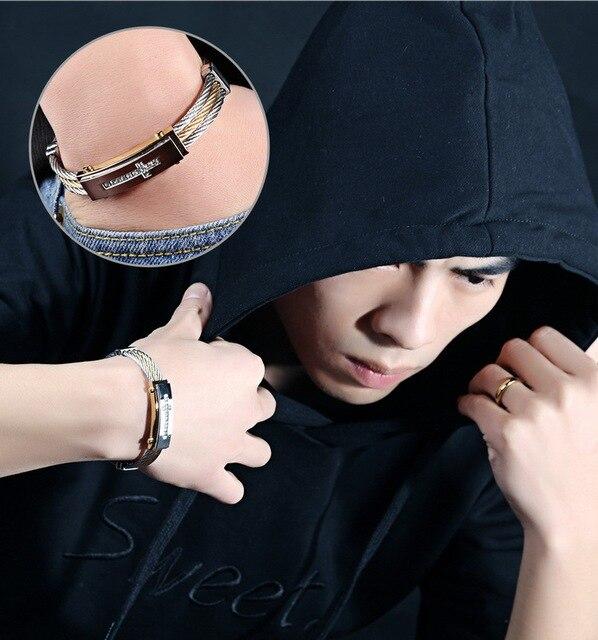 модный мужской браслет 316l титановая сталь три ряда проволоки фотография