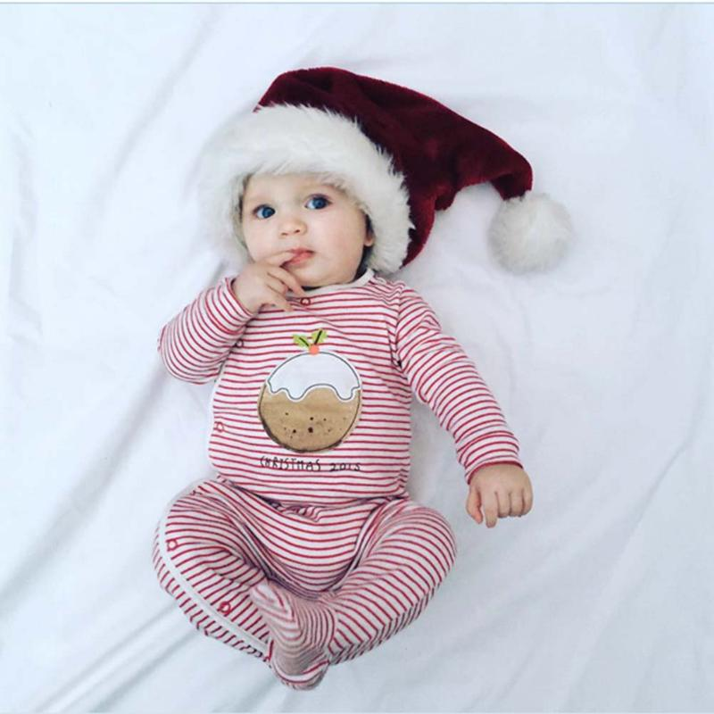 Newborn Baby Clothes Warm Print Red White Stripe Oblique Buttons Romper Jumpsuit Infant Clothing Christmas Pajamas