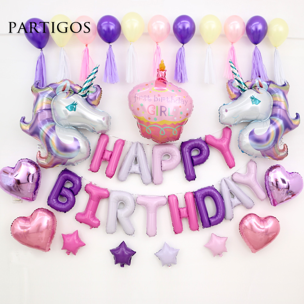 1set Cartoon Rainbow Purple Unicorn Foil Balloons Birthday Wedding Inflatable 16 Inch Letter Balls Tassel Backdrop Party Decor In Ballons Accessories From