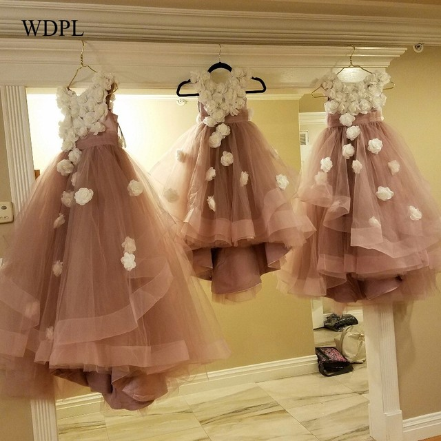 2c9b508904aa Real Photo Dusty Pink Flower Girl Dresses With Ivory Flowers Tulle Layers  Girls Pageant Gowns Baby Party Dress vestido daminha