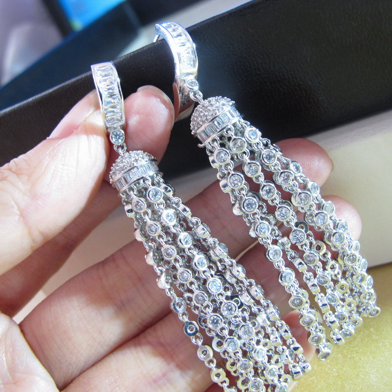 New Russia fashion Party jewelry cubic Zirconia long tassel dangle earrings for women