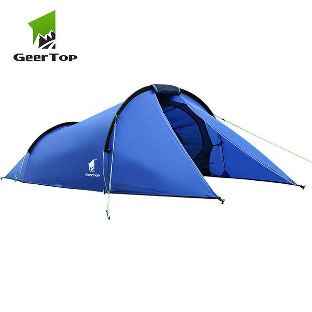 GeerTop 2 человек 3 сезона семья туннель палатка легкий водостойкий легко настроить туристическое снаряжение палатки для Открытый пеший туризм