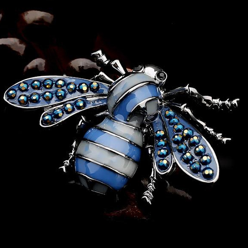 Fashion Blue brown Enamel Bees Brooches For Women Gold Color insect Brooch Pins Dress Scarf Lapel Pin hats accessory