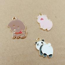 10pcs/lot Teddy Dog Pig Panda Enamel Charms Cute Animal Drop Oil Alloy Pendant Jewelry Findings Bracelets Gifts Accessory YZ370