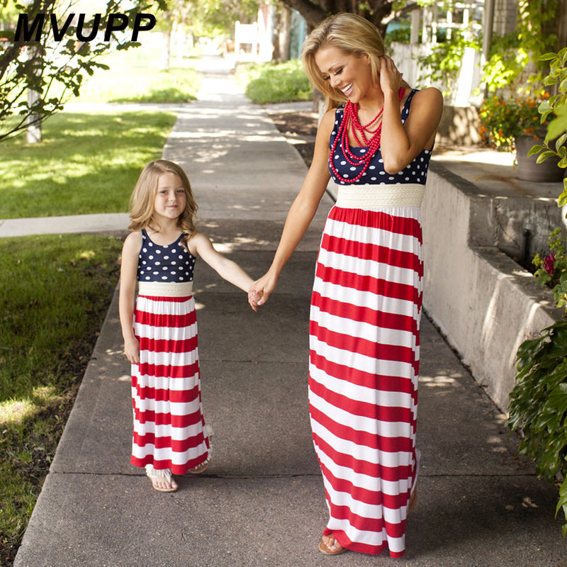 MVUPP family matching clothes mother daughter dresses striped polka pot summer dress girl Maxi dress Flag Day mommy and me sets