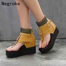 цена Brand Fashion Women Platform Sandals Summer Wedges Shoes Woman High-top Leather Gladiator Sandals Flip-Flops Sandalias Mujer