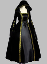 Gothic Black Velvet & Silk-like Halloween Witch Cosplay Costume Dress