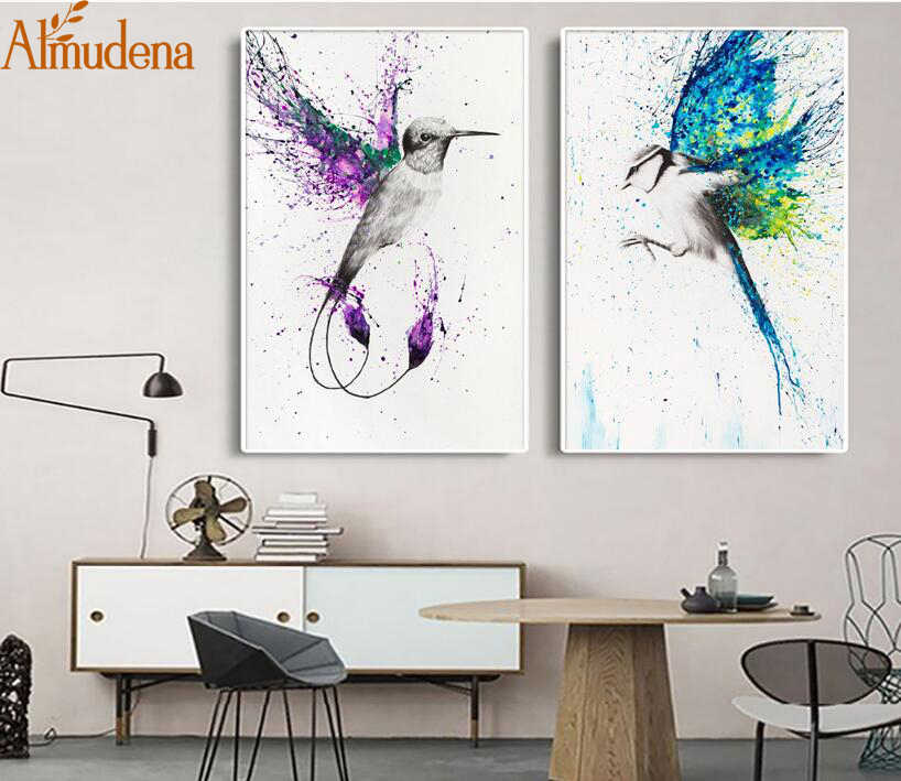 ALMUDENT European Splash Colorful Flying Birds Abstract Art Study Decorative Painting Unframed Modular Wall Art Canvas Poster