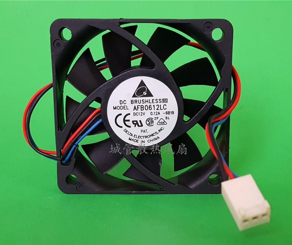 Delta Electronics AFB0612LC 6B19 Server Square Fan DC 12V 0.12A 60x60x13mm 3-wire