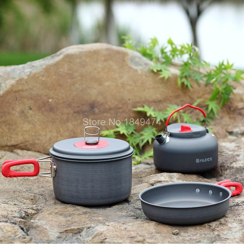 Alocs Outdoor Camping Hiking Cookware Sets Tableware Picnic Backpacking Cooking Pot Pan Kettle Cooker Set 2-3 people CW-C19T alocs cw c01 outdoor tableware aluminium alloy 1 2 person 7pcs camping cook set portable for outdoor hiking picnic