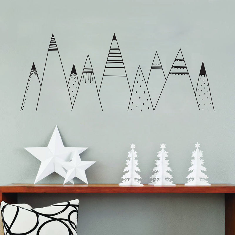 Patterned Mountains Wall Art Decal Mountain Woodland Nursery Tribal Wall Decals Nordic Style