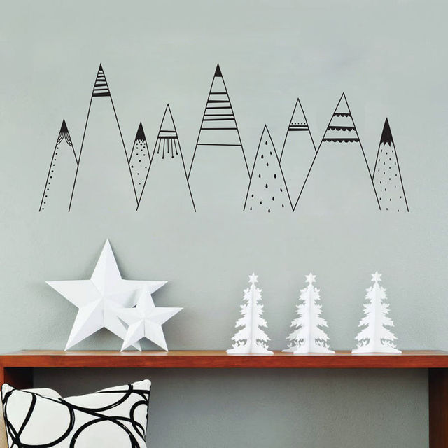 Patterned Mountains Wall Art Decal , Mountain Woodland Nursery Tribal Wall  Decals Nordic Style Home Decor