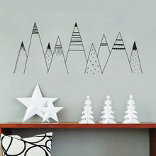 Patterned Mountains Wall Art Decal , Mountain Woodland Nursery Tribal Wall Decals Nordic Style Home Decor Vinyl Wall Stickers