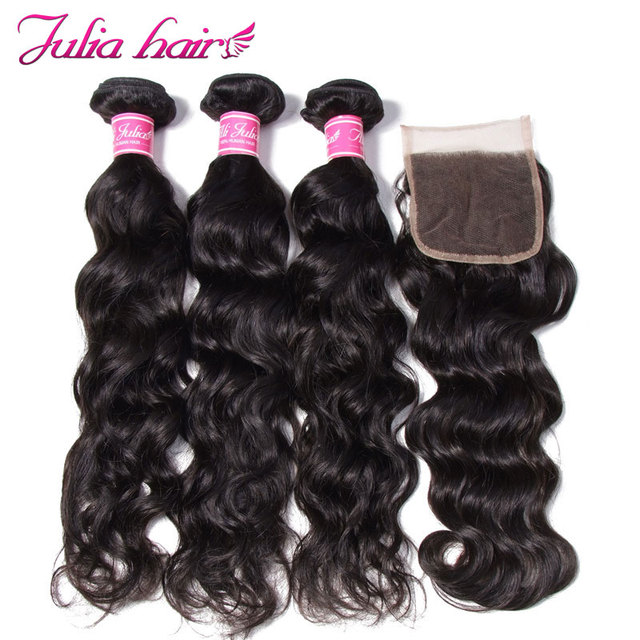 Ali Julia Human Hair Bundles With Closure Brazilian Natural Wave Hair Weave Free Part Lace Closure With 3 Bundles Remy Hair