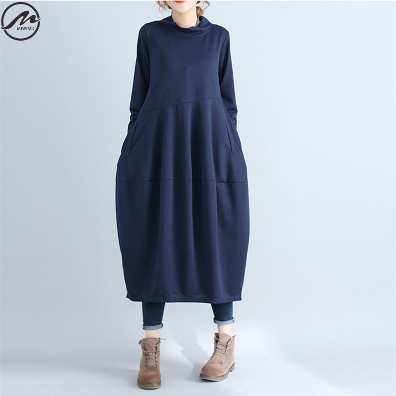 MIWIMD New 2017 Fashion Women Autumn Winter Casual Solid Color Patchwork Turtleneck Long Sleeves Cotton Lantern Dresses Big Size