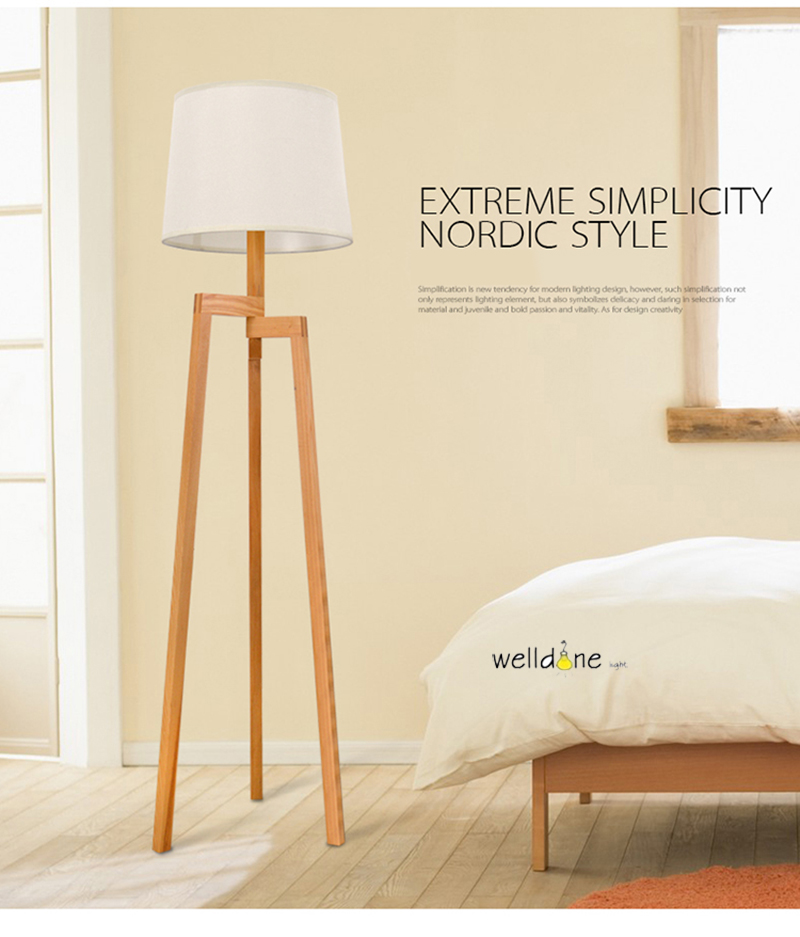 Modern Minimalist 3 Leg Wood Tripod Floor Lamps With Fabric Shade Floor  Light For Sitting Living Room Study Lighting Fixture In Floor Lamps From  Lights ...