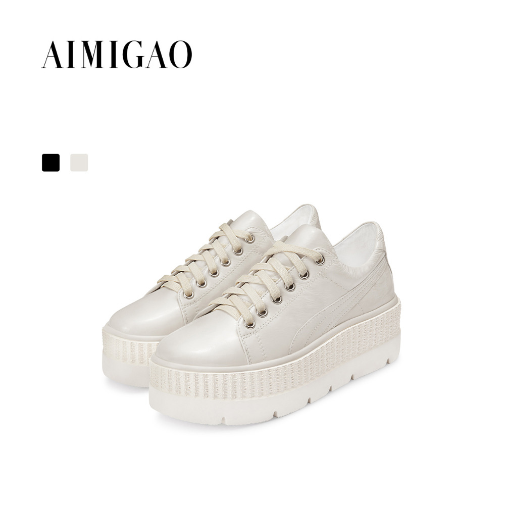 Women Genuine Leather Platform casual Shoes 2017 autumn new fashion Lace-up flat shoes women thick bottom comfortable Sneakers wdzkn new arrival women casual shoes spring autumn comfortable breathable genuine leather flat platform women shoes hc1803