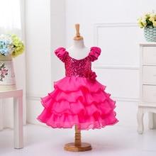 A Line Hot Pink Ruffles Organza Seuqins Short Sleeve Long Wedding Party Kids Gowns First Communication Dress Flower Girl Dresses