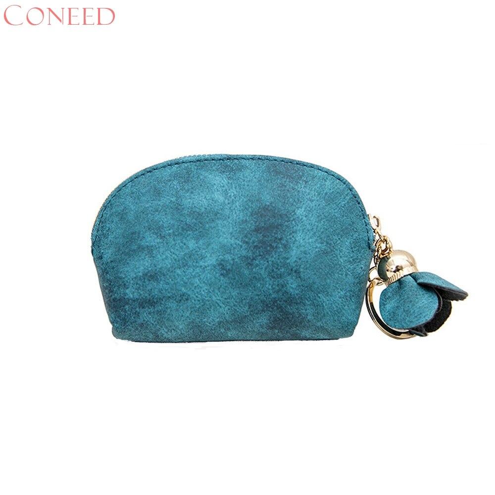 CONEED Kvinnor Läder Liten Mini Plånbok Hållare Zip Mynt Väska - Plånböcker - Foto 6