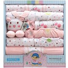 18 pezzo del bambino appena nato set vestiti del ragazzo 100% cotone infantile del vestito del bambino vestiti della ragazza abiti pantaloni vestiti del bambino cappello bavaglino ropa de bebe