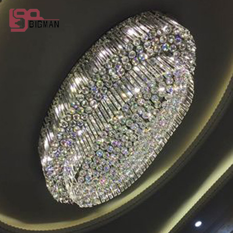 oval design luxury crystal chandelier modern flush mount 2 layers crystal lamp living room chandelier