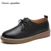 Classic Zapatillas Spring Women Sneakers Oxford Shoes Flats Shoes Women Leather Lace Up Boat Shoes Round