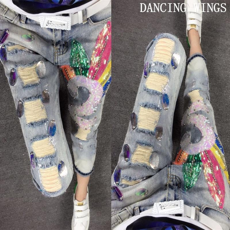 a1002e2ad8 Mujeres Rasgado Slim Pesado Rectos Casual Primavera Mujer Pantalones  Cintura Jeans Vintage Mediados Agujero De Lentejuelas Azul gqtxPntXZ