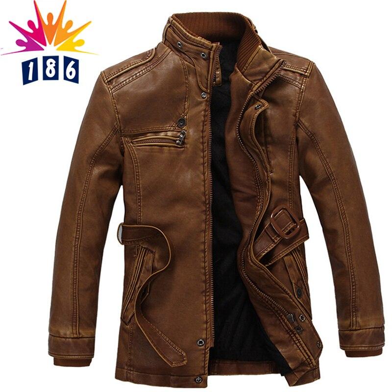 new leather jacket men's wool coat long fur collar coat men's leather jacket warm casual windbreaker jacket M-3XL