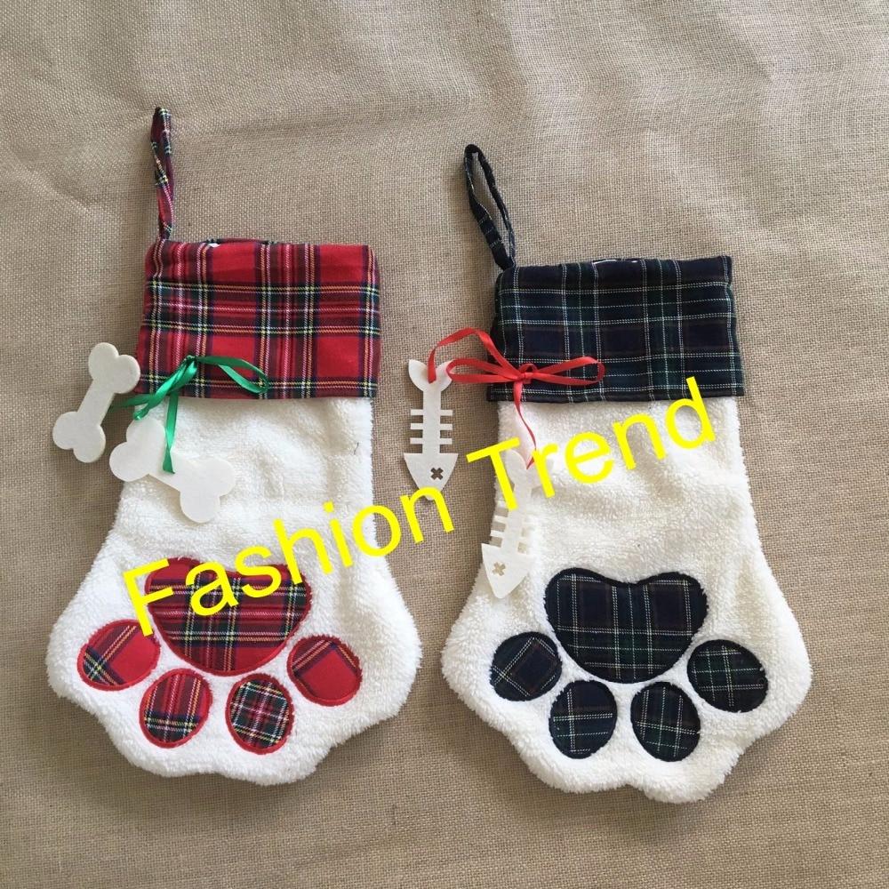 20pcslot free shipping monogrammed red u0026 blue dog paw pet plaid christmas stocking animal xmas stocking for kids candy bag - Monogrammed Christmas Stockings
