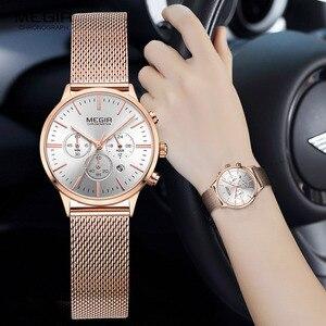 Image 4 - MEGIR femmes en acier inoxydable maille bracelet Quartz montres chronographe 24 heures Date affichage analogique montre bracelet pour dame 2011L