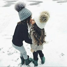 Baby Children Winter Fashion Caps Hats Warm Drop Shiping Fur Ball Pompon Kids Lovely Boy Girl 2-6Y drop shiping Fur Hats(China)
