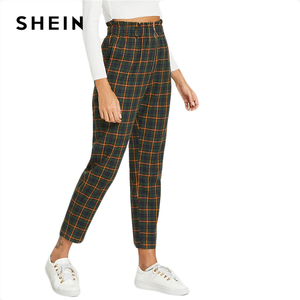 Image 5 - SHEIN Green Office Lady Elegant Exposed Zip Fly Plaid Peg Mid Waist Carrot Minimalist Pants 2018 Autumn Casual Women Trousers