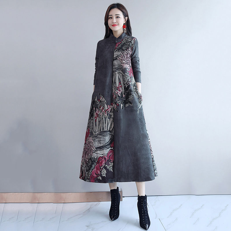 Suede Printed Long Windbreaker Fashion Female 2019 Autumn New Chinese Style Women s Retro National Wind