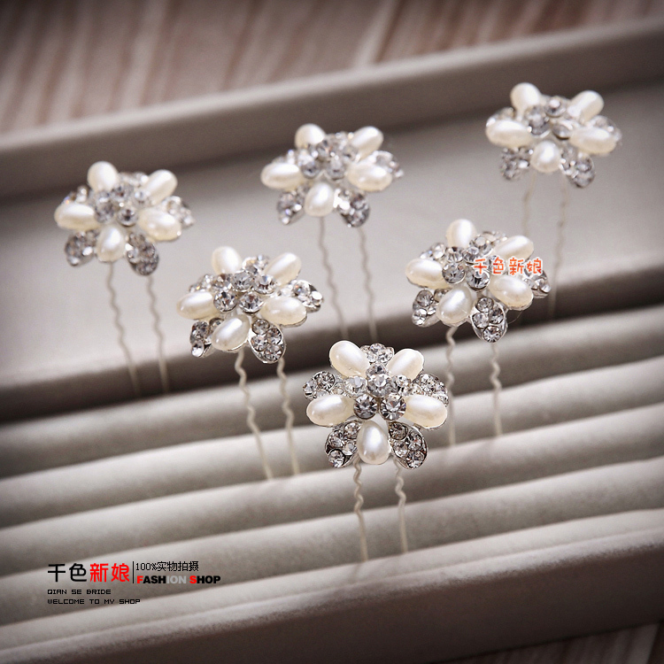 12 pcs/lot Pearl Austrian Rhinestone Wedding head jewelry Hair Jewellery Bride hair Accessories Hairwear crystal hairpins