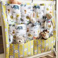 Animal Print Brand Baby Cot Bed Hanging Storage Bag Crib Organizer Toy Diaper Pocket for Crib Bedding Set 60*50cm