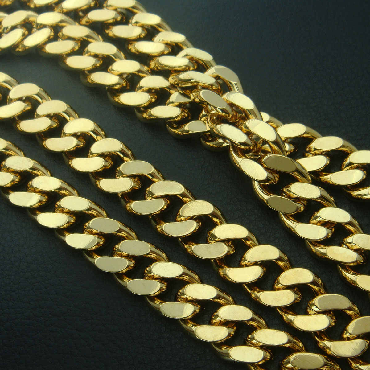 18ct yellow gold GF vacuum coating curb rings link chain solid mens womens necklace N224aa01 B147SQ